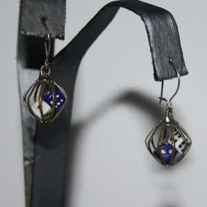 Vintage Silver dice caged dangle earrings